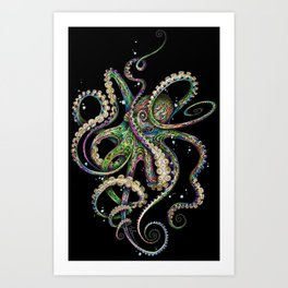 Octopsychedelia (black) Art Print