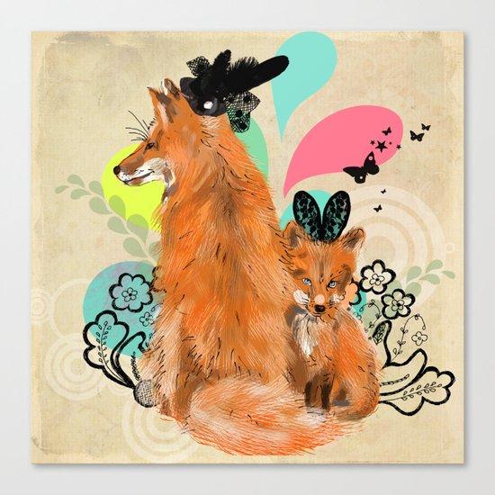fancy foxes Canvas Print