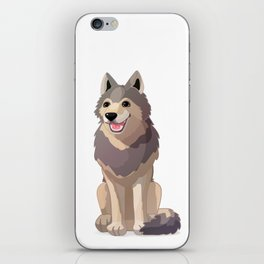 Happy gray wolf. Vector graphic character iPhone Skin
