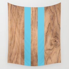 Wood Grain Stripes - Light Blue #807 Wall Tapestry