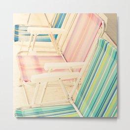 It's Summertime (vintage beach chairs) Metal Print
