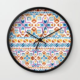 Geometric colorful Watercolor Pattern Wall Clock