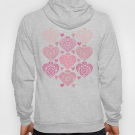 Pink Heart Valentine's Doilies Pattern Hoody