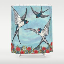 Summer Swallows Shower Curtain