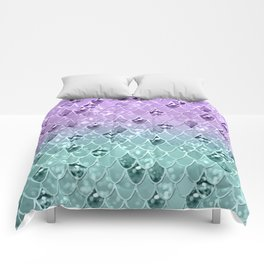 Mermaid Princess Glitter Scales #3 #shiny #pastel #decor #art #society6 Comforters