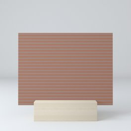 Sherwin Williams Slate Violet Gray SW9155 Horizontal Line Patterns 2 on Cavern Clay Warm Terra Cotta Mini Art Print