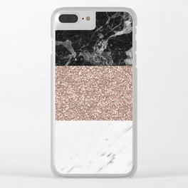 Marble stripes - Deauville rose gold Clear iPhone Case