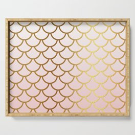 Pink Gradient And Gold Foil MermaidScales - Mermaid Scales Serving Tray