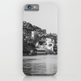 Views of Hallstatt | Austria Travel Photography | Black and White Photo Print iPhone Case