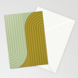 Two Tone Line Curvature XX - Moss Green Stationery Cards