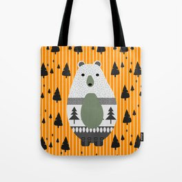 Cute bear, stripes and a fir forest Tote Bag