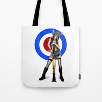 tank girl Tote Bags featuring Tank Girl by Valérie Loetscher (Vay)