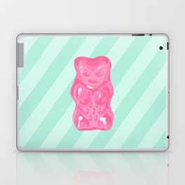 Pink Gummi Bear on Mint Background Laptop & iPad Skin