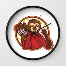 Sloth Fighter Self Defense Circle Mascot Wall Clock