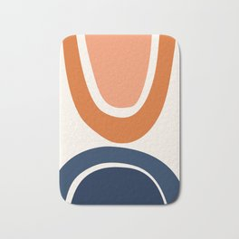 Abstract Shapes 7 in Burnt Orange and Navy Blue Bath Mat