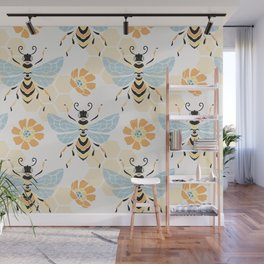 Honey Bee Abstract Pattern Wall Mural