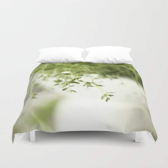 Fresh Herb In A White Pot Duvet Cover
