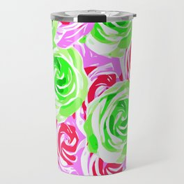 colorful rose pattern abstract in pink blue green Travel Mug