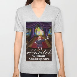 Hamlet by William Shakespeare cartoon poster Unisex V-Neck