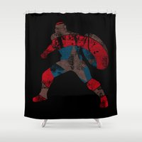 steve rogers Shower Curtains featuring Steve Rogers (CA) - Black Background by MajesticSeahawk Designs