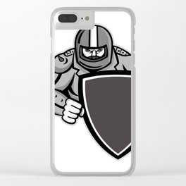 Motorcycle Biker With Shield Mascot Clear iPhone Case
