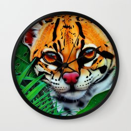 Ocelot in jungle and frog friend Wall Clock