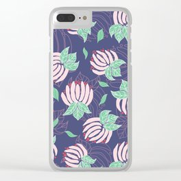 Blush Bloom Peony Lavender Clear iPhone Case