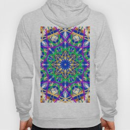 Mandala made with lines and dots of varied colors. Hoody