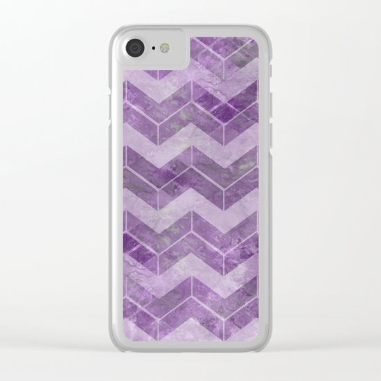 Chevron pattern, watercolors purple Clear iPhone Case