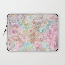 Shabby vintage pink baby blue watercolor floral Laptop Sleeve