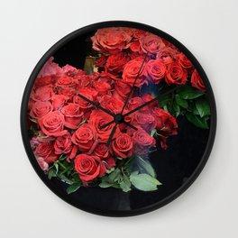 Paris Red Roses Parisian Roses Fleur Prints and Home Decor Wall Clock