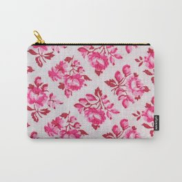 Pink Rose Damask Pattern Carry-All Pouch