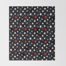 Bold Patriotic Stars In Red White and Blue on Black Throw Blanket