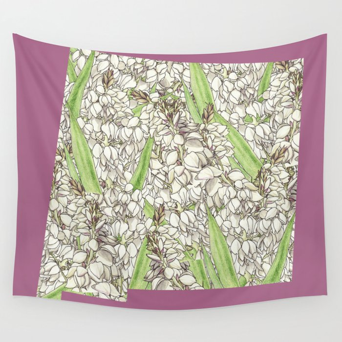 New Mexico in Flowers Wall Tapestry