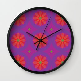 Magenta pattern with geometric flowers Wall Clock