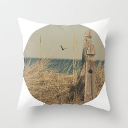 Paradise New England Beach Ocean Seaside Neutral Photography Fine Art Prints New  Throw Pillow