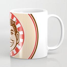 Grinning Funny Face Mascot Circle Retro Coffee Mug