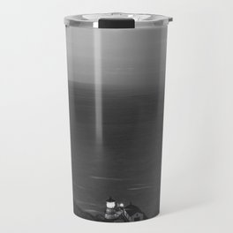 Cliff on the Ocean (Black and White) Travel Mug