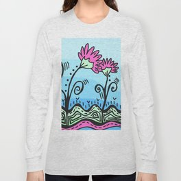 Three Spring Flowers - Blue Long Sleeve T-shirt