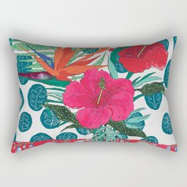 Tropical Bouquet in Living Coral and Emerald Green Rectangular Pillow