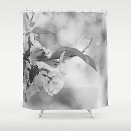 Full Bloom - Black and White Flower Photo Shower Curtain