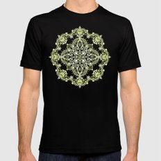 Pale Lemon Yellow Lace Mandala on Grey 2X-LARGE Mens Fitted Tee Black