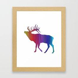Rainbow Watercolor Dripping Elk Framed Art Print