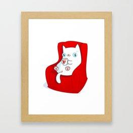 Kitty Loves Tea Framed Art Print