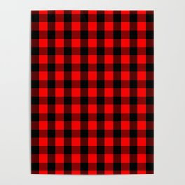 Classic Red and Black Buffalo Check Plaid Tartan Poster