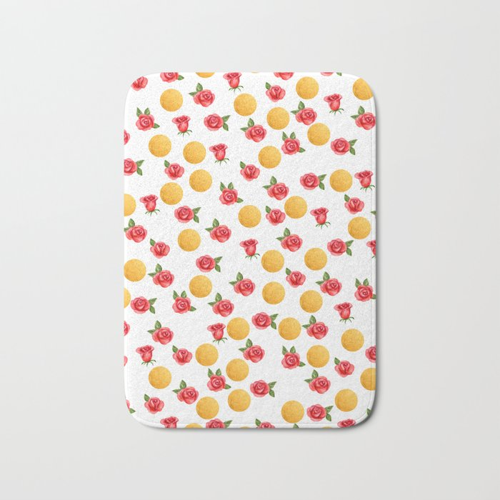 Grace - Watercolor Red Roses and Golden Polka Dots Pattern Bath Mat