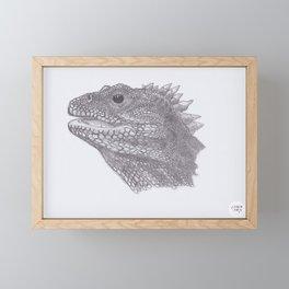 Happy Tuatara Sketch Framed Mini Art Print