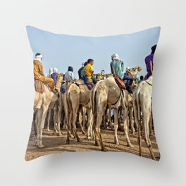 Nomads and camels - Niger, West Africa Throw Pillow