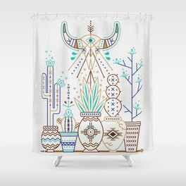 Santa Fe Garden – Turquoise & Brown Shower Curtain