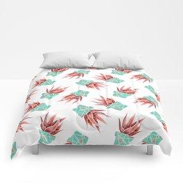 Aloe Vera Plant, Geometric, Coral, Mint, Rose Gold Comforters